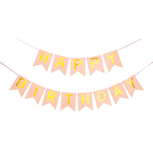 Vocktops Happy Birthday Banner Bunting for Party Decoration (Pink 1) for $<!--$10.00-->