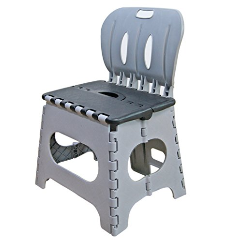 Kids Preschool Folding Chair with Back Super Strong Plastic Child Step Stool (grey)