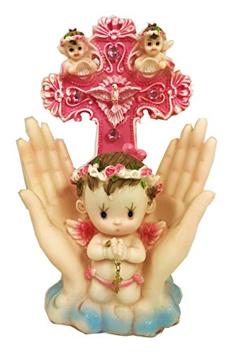 - VI N VI Baptism Angel on Hands with Cross Party Favor Figurine (Pink)