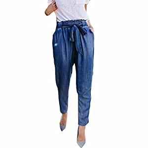 2019 Women's Crop Jeans,Sexy High Waist Casual Demi Cowboy Trousers with Bow Tie Belt and Pocket Pants by-NEWONESUN