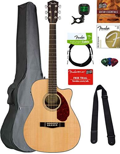 Fender CC-140SCE Concert Acoustic-Electric Guitar - Natural Bundle with Gig Bag, Tuner, Strap, Strings, Picks, Austin Bazaar Instructional DVD, and Polishing Cloth