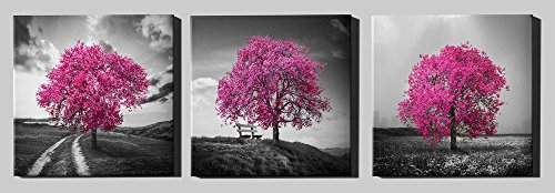 Epic Graffiti Vibrant Tree Series Triptych (Set of 3) Giclee Canvas Wall Art, 36