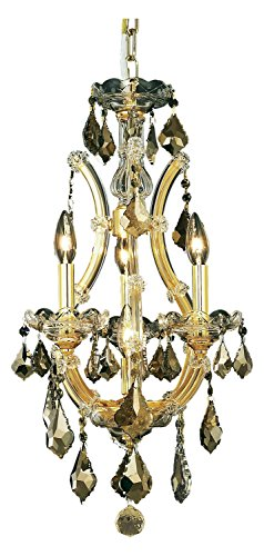 Elegant Lighting 2800D12G-Gt/Ss Swarovski Elements Smoky Golden Teak Crystal Maria Theresa 4-Light, Single-Tier Crystal Chandelier, Finished in Gold with Smoky Golden Teak Crystals ()