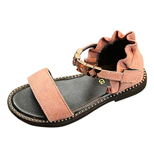 Tantisy ♣↭♣ Girls Summer Sandals // Fashion Casual Wave Metal Velvet Single Shoes Outdoor Wedges Shoes Flat Shoes Pink