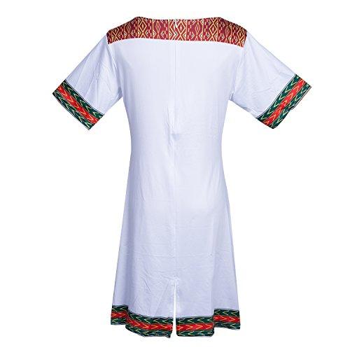 Femme Chouette Imprim Floral Manches lastique Mince Robe Longue Mi Casual Blanc Courtes d1xg1rqw