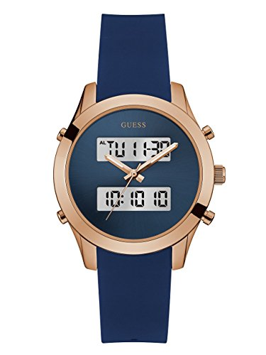 GUESS Navy and Rose Gold-Tone Digital Analog Watch
