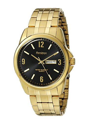 Armitron Men's 20/5049BKGP Day/Date Function Dial Gold-Tone Bracelet Watch