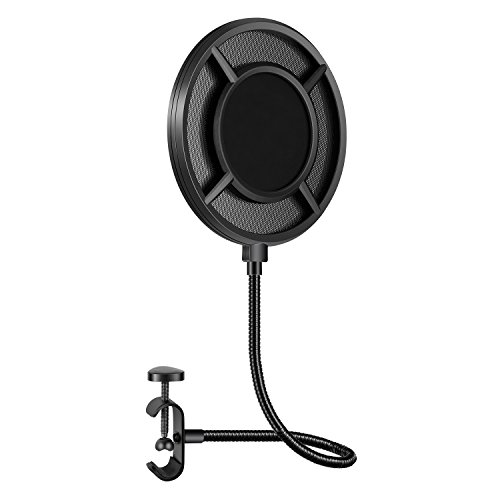 Neewer Upgraded 6-inch Microphone Pop Filter - Dual Nylon Layer Windscreen Mask Shield with Mesh Metal Mezzanine, Flexible Gooseneck and Mic Stand Clamp for Studio Recording and Broadcasting (Black)