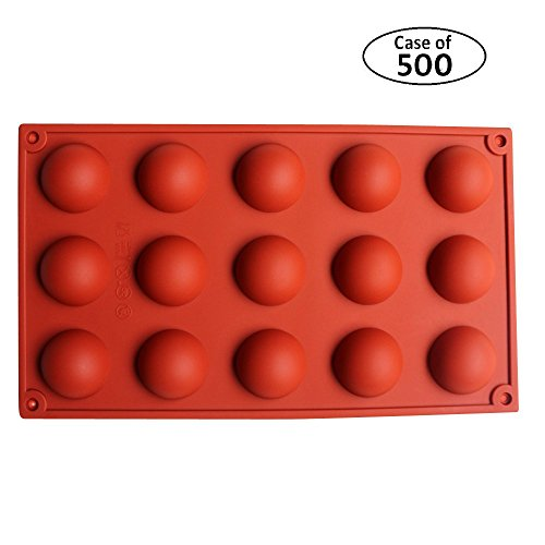 Case of 500pcs,BAKER DEPOT 15 Holes Round Silicone Mold for Handmade Soap,Jelly,Pudding Candy Making Cake Decorating Bakeware