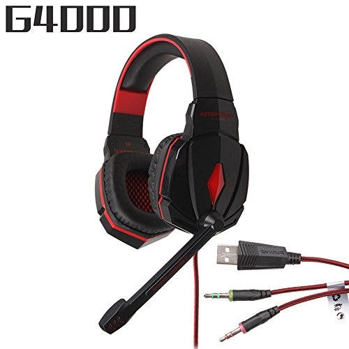 KOTION G4000 Pro 3.5mm PC Gaming Stereo Noise Canelling Headset LED Game Headphone, With Volume Control MIC, Black+red