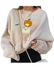 Vrouwen Halloween Grafische Sweatshirts Pompoen Ghost Lange Mouw Crewneck Pullover Mode Oversized Herfst Tops Tees, Beige C, M