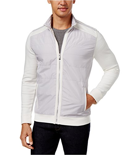 Calvin Klein Mens Colorblock Quilted Jacket, White, Large