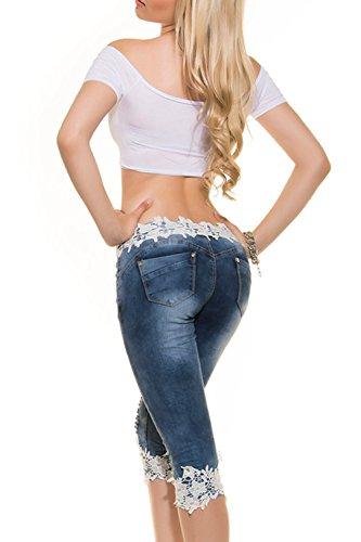 Vitello Stretti Lace Jeans Si Leggings Blue Pantaloni Donne Le Strappato Lungo Mosaico Buco I paxqnZ0zRw