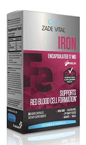 Zade Vital Iron Supplement for Immune System, Energy and Red Blood Cell Production, Dietary Supplement, 60 Vegetable Hard Capsules, Non GMO, Kosher, Halal, GMP, Vegan, 2 Months Supply