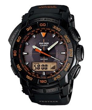 Casio Men's PRG550-1A4 Pro Trek Triple-Sensor Tough Solar Analog-Digital Sport Watch from Casio
