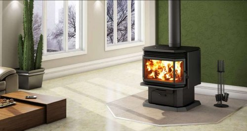 - Osburn 2200 Wood Stove with Brushed Nickel Door Overlay and Brushed Nickel Louvre and Trivet Kit