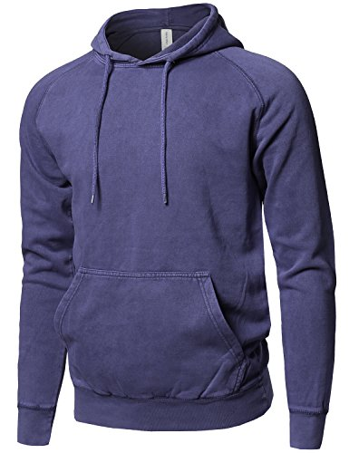 (Style by William Mineral Washed Raglan Long Sleeve French Terry Pullover Hoodie Denim M)