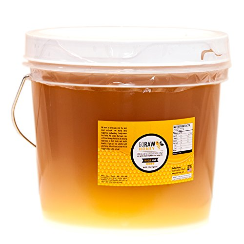 1 Gallon (12lbs) Bulk Raw Clover Honey | ''The Whole Hive'' | Pure, Unfiltered, Unpasteurized, Unadulterated, 100% All-American Grade A Honey From Family-Owned Farms by Go Raw Honey