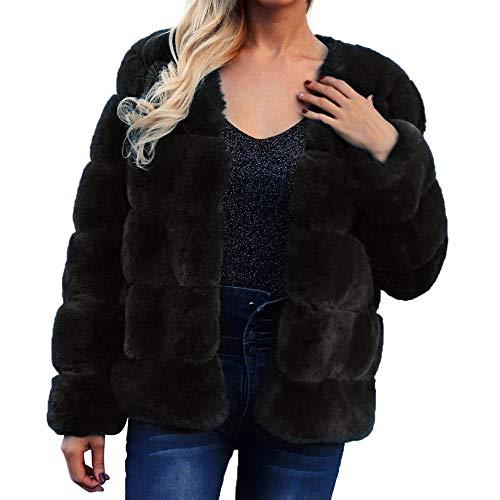 Mantieni Per Pelliccia Cardigan Nero Caldo Sintetica Outwear Trench Jacket Elecenty Donna Calda Cappotto Elegante Lungo In pdC0q