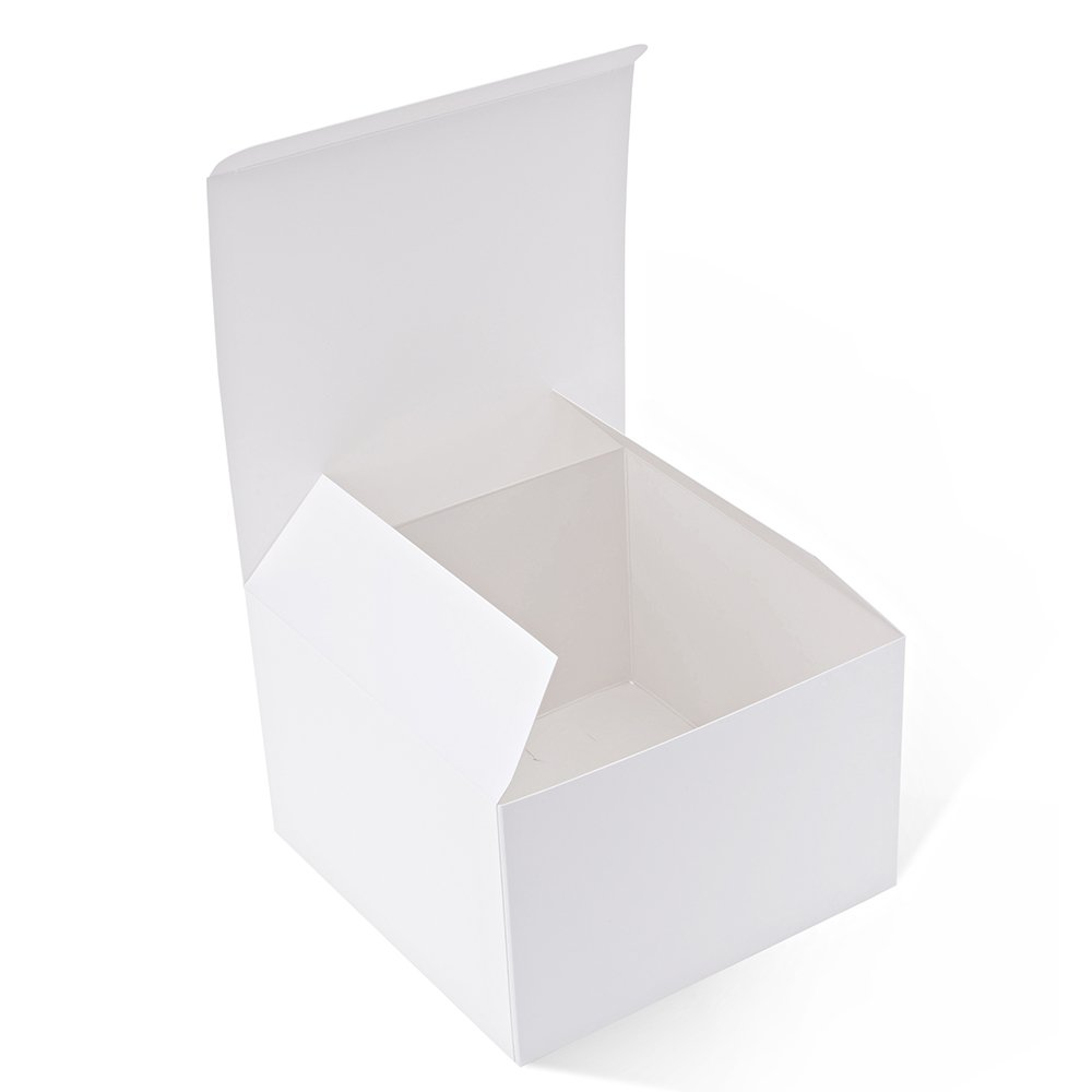 MESHA Recycled Gift Boxes 6x6x4 Inches White Gloss Paper Boxes 100PCS Kraft Favor Boxes for Party, Wedding, Gift