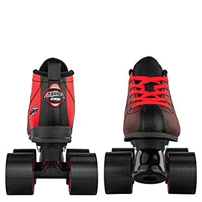 Crazy Skates Rocket Roller Skates for Boys and Girls - Great Beginner Kids Quad Skates - Black and Red Patines : Sports & Outdoors