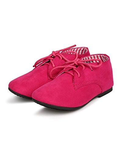 JELLY BEANS Suede Round Toe Lace Up Classic Ankle Oxford Flat (Toddler/Little Girl/Big Girl) DG66 - Fuchsia (Size: Little Kid 11) by JELLY BEANS (Image #4)