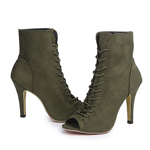 Party Shoes Peep High Block Wedges Women Ankle 35 Women Toe Ladies Shoes Heels 43 JERFER Singel Green xvZ4qYwHx
