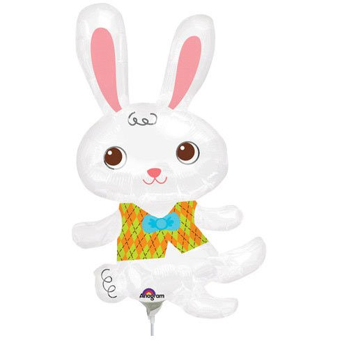 Easter Bunny With Vest Mini Shape Foil Balloon