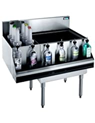 Krowne Metal KR18 M36R 10 Royal 1800 Series Underbar Ice Bin Cocktail Station Bottle Well Bin 36 W X 19 D W 24 W Built In 10 Circuit Cold Plate Ice Bin On Right