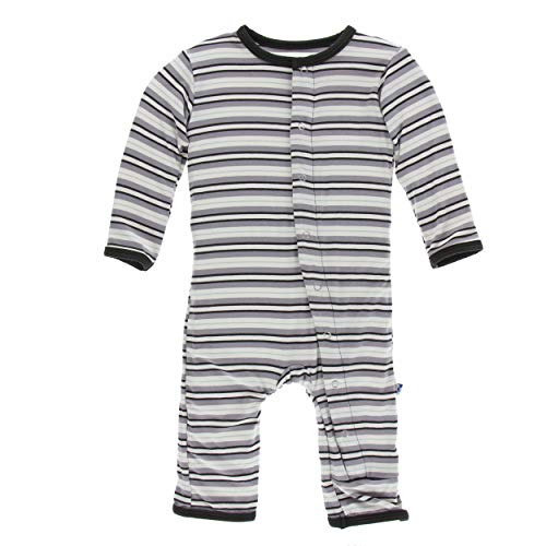 Kickee Pants Little Boys Print Coverall with Snaps - India Pure Stripe, 6-9 ()