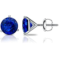 14k Gold 3-Prong Martini Round Blue Sapphire Stud Earrings (1/4 cttw) Screw-Backs