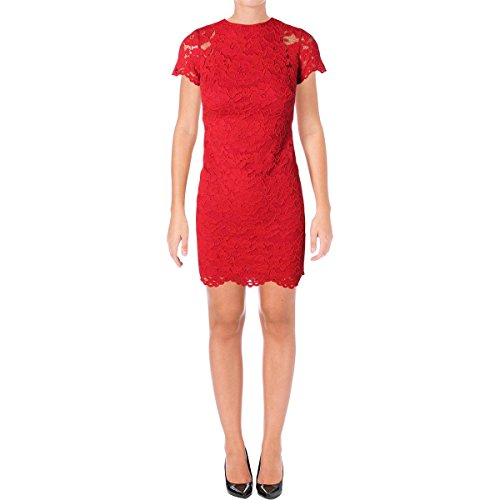 Lauren Ralph Lauren Womens Petites Lace Cap Sleeves Casual Dress Red 16P Ralph Lauren Wedding