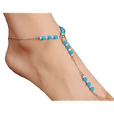 Top JY Jewelry Silver-plated Chain Beads design Link with Toe Anklet Foot Jewelry