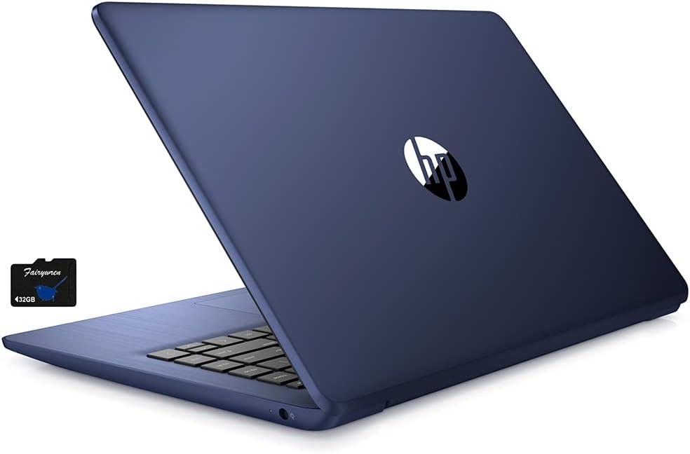 2021 HP Stream 14 inch Laptop, Intel Celeron N4020 Processor, 4GB RAM, 64GB eMMC, WiFi, Bluetooth, Webcam, HDMI, Windows 10 S with Office 365 for 1 Year + Fairywren Card (Blue)