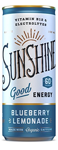 Sunshine Good Energy Drink, Blueberry Lemonade, 8.4 oz (Pack of 24), Organic Caffeine and Natural Flavors