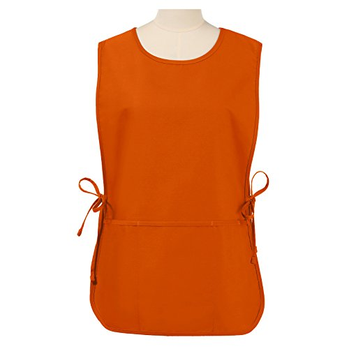 VEEYOO Chef Cobbler Apron with 3 Pockets, Polyester Cotton, Art Smock Aprons for Unisex Adult Men Women, Orange, Regular 20x28 inches by VEEYOO