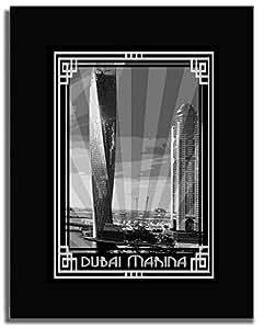 Dubai Marina- Black And White With Silver Border F04-nm (a3) - Framed