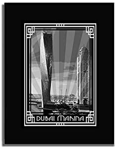 Dubai Marina- Black And White With Silver Border F04-nm (a5) - Framed