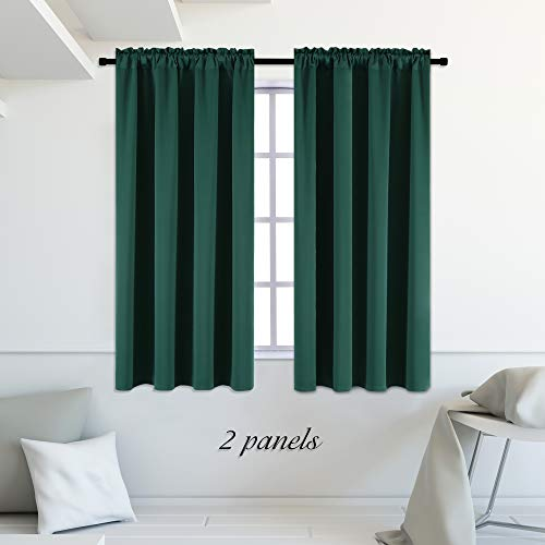 DONREN Hunter Green Blackout Thermal Insulating Window Curtains/Panels/Drapes for Bedroom (42 x 54 inches with Rod Pocket,2 Panels)