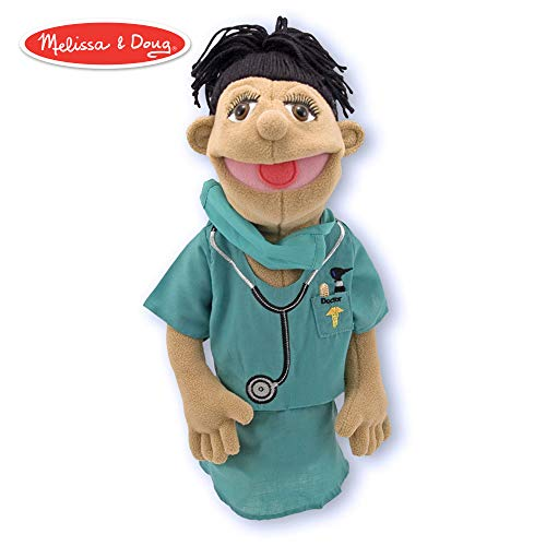 Melissa & Doug Surgeon Puppet With Doctor Scrubs and Detachable Wooden Rod (Puppets & Puppet Theaters, Animated Gestures, Inspires Creativity, 15