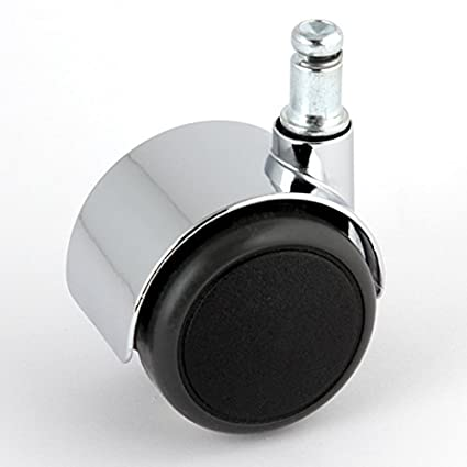 Satz Stuhlrollen Chrom 50 mm Gewinde 10 ohne Bremse mit PU-Bereifung grau spurlos f/ür harte B/öden Hartbodenrolle