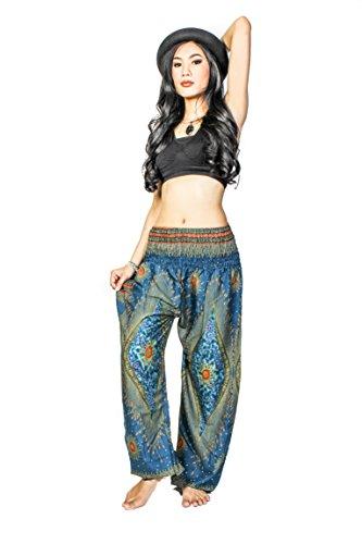 Cotton Rose Harem Pants for Women Peacock Yoga Pants Petite Gyps Baggy Pants (HPdG - Petite Length