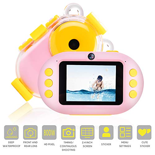 Waterproof Kids Camera 2.4 in Underwater Dual Selfie Children Kids Camera 1080P HD Digital Toys Camera Video Photography Hobby for Age 3/4/5/6/7/8/9 Girls Boys Birthday Gift (Pink)