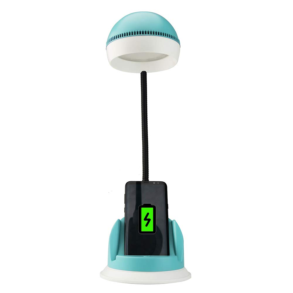 Decdeal Desk Lamp with Wireless Charger USB Charging Port 3 Brightness Levels, Adjustable Table Lamp for Office Bedroom Dormitory