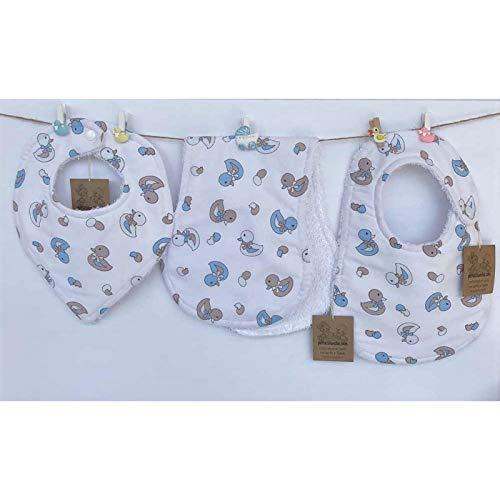 Conjunto de 3 baberos para bebés, pique de canutillo y rizo de toalla 100%