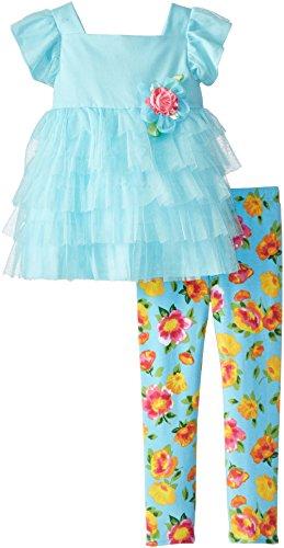 Sweet Heart Rose Little Girls' Ruffled Dress and Floral Legging Set
