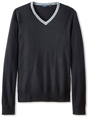 Thirty Five Kent Men's Wool/Cashmere Contrast Collar V-Ne...