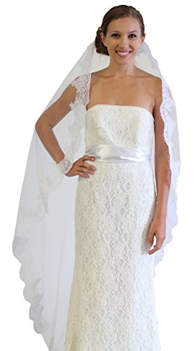 Alencon Lace One Tier Bridal Wedding Veil (White) (Lace Alencon Veils)