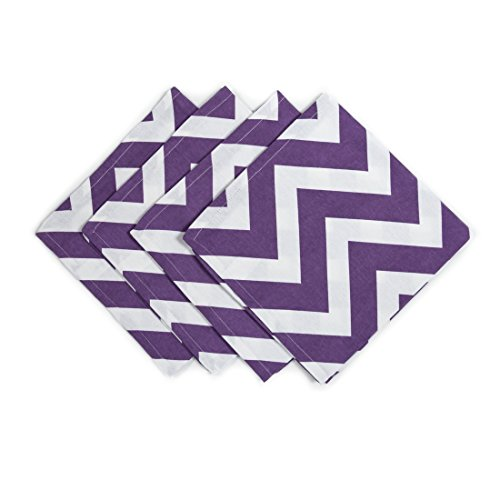 LinenTablecloth Purple and White Chevron Cotton Napkins, 20-Inch, 4-Pack (Napkins Cloth Chevron)
