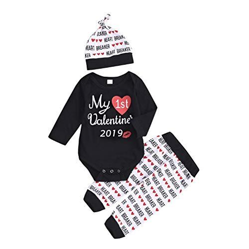 Zukuco My First Valentine Pants Set Baby Girl Boy Love Print Romper + Heart Breaker Pants+ Hat (0-6 Months, Black)